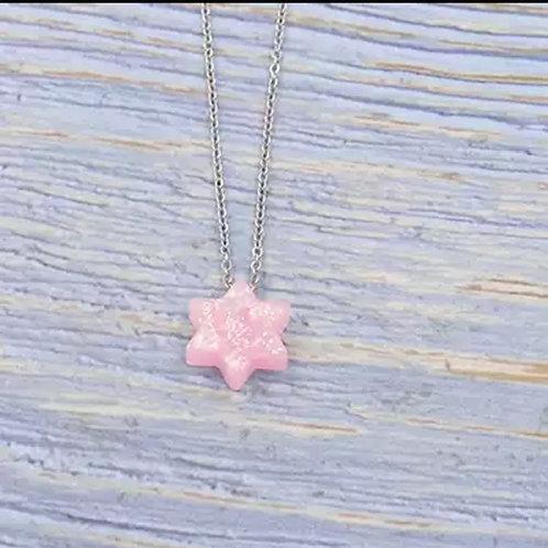 Colar Estrela de Davi Opal Rosa