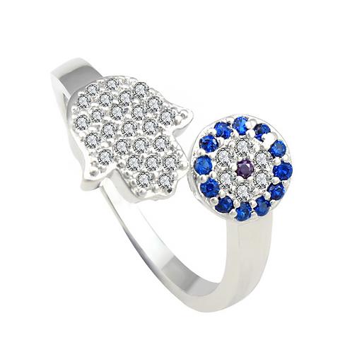 Anel Hamsa com cristal de zirconia cúbico azul de luxo.