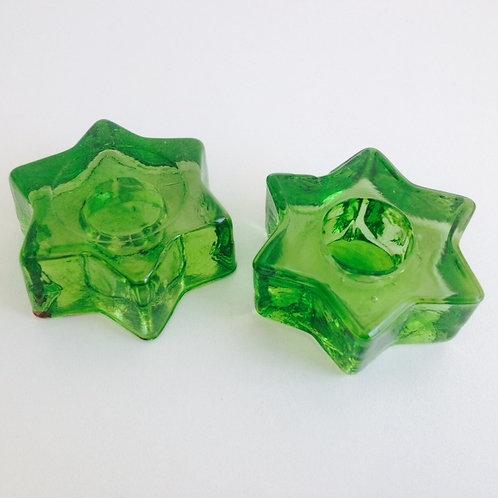 Porta velas formato estrela verde de vidro
