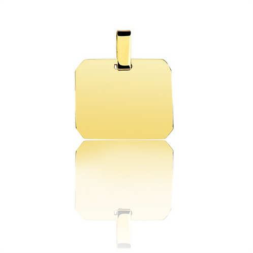 Pingente personalizado retangular de ouro amarelo 18k.