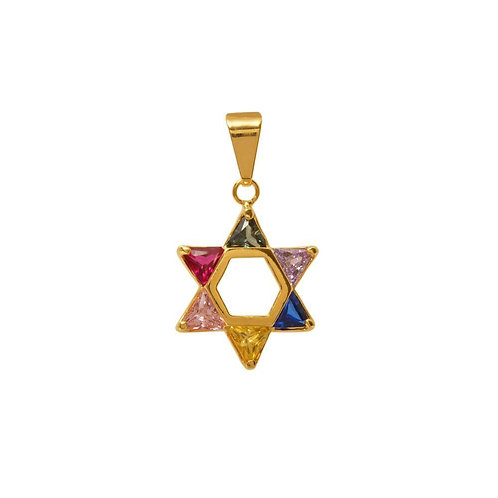 Pingente Estrela de David com pedra de zirconia colorida