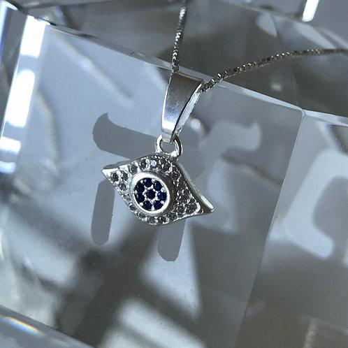 Pingente  olho grego com corrente de prata