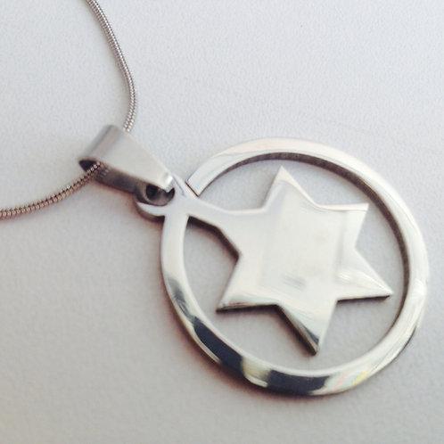 Colar aço inoxidável  com a estrela de David