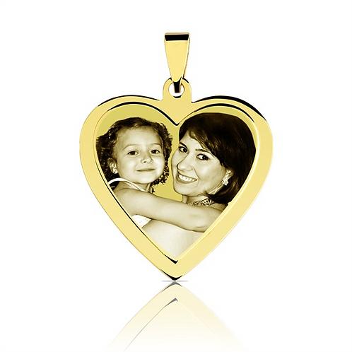 Pingente personalizado  coração  folhado dourado.