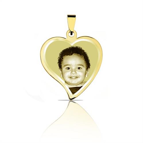 Pingente personalizado coração de ouro amarelo 18k.