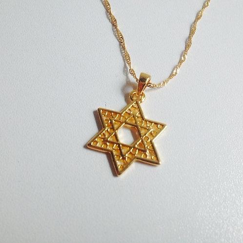 Colar de Estrela de David dourado e corrente