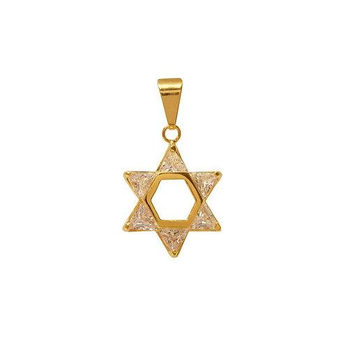 Pingente Estrela de David com pedra de zirconia branca