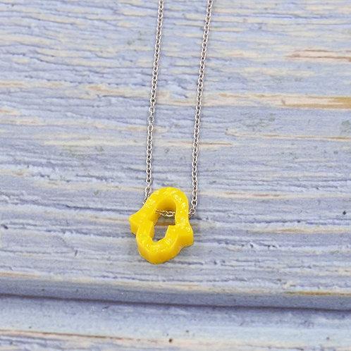 Colar prata com hamsa de opal amarelo