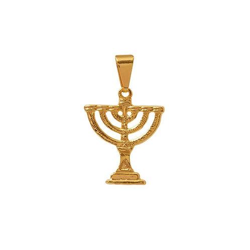 Pingente Menora tradicional dourado