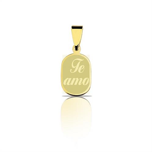Pingente personalizado , folhado dourado.
