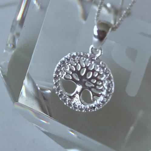 Pingente Árvore da vida com corrente de prata