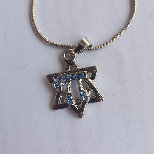 Colar de estrela  com strass azul prateado