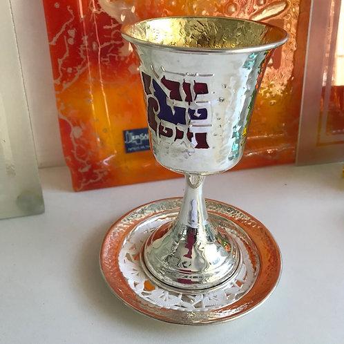 copo para kidusch folhado a prata