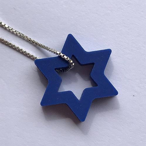 Colar Estrela de David Azul.