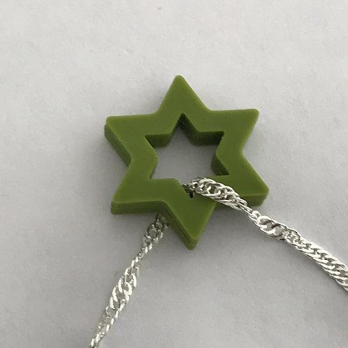 Colar de estrela de David de Silicone verde