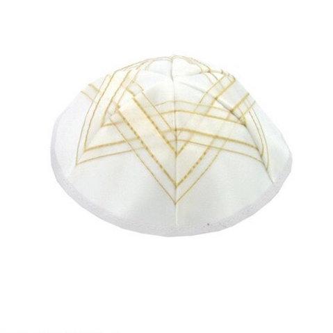Kipa Branca com Estrela Dourada