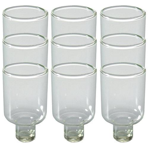 Nove copos de vidro