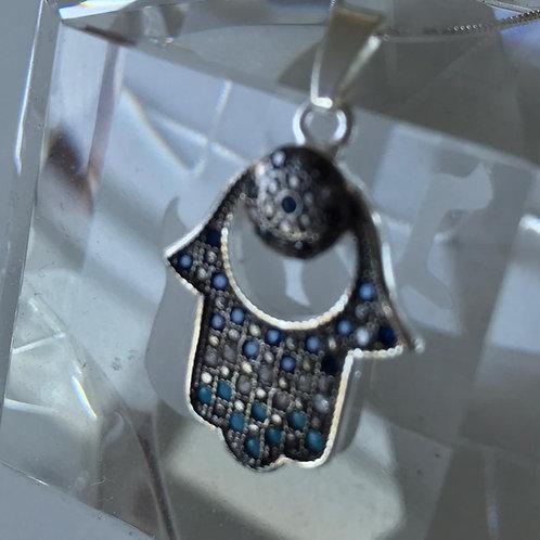 Pingente Hamsa com corrente de prata