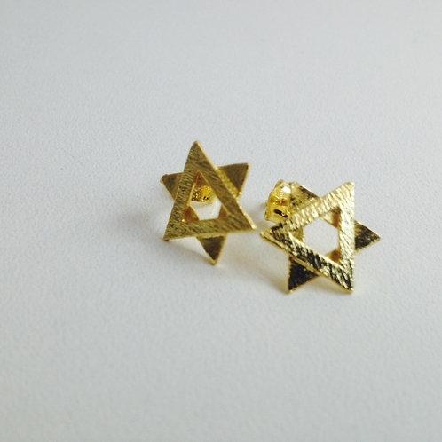 Brinco folhado dourado  estrela de David.