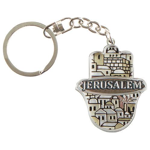 Chaveiro de metal com hamsá Jerusalém.
