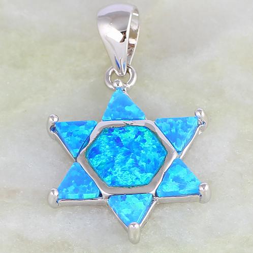 Pingente Estrela De David Azul