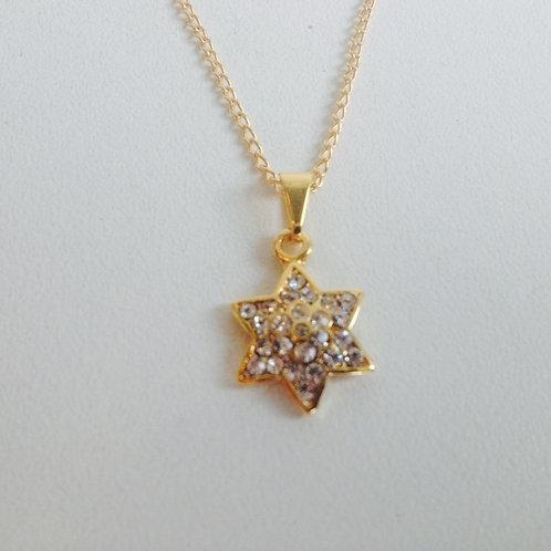 Colar dourado estrela de David com Strass