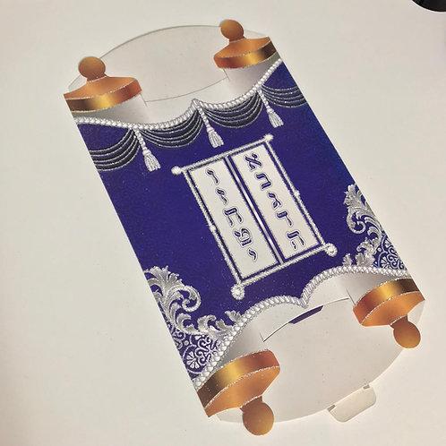 Caixa de papelão na forma de Sefer Tora