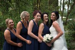 Bridesmaid giggles