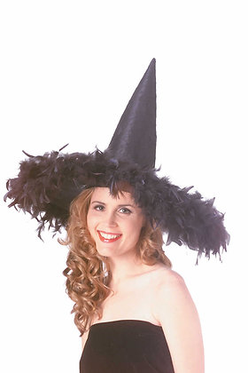Black Feather Witch Hat