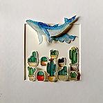 Jokarta paper sculpture, watercolor on paper