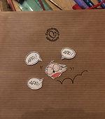 greeting card jokarta, illustrazione, bird, sacchetto hadmade