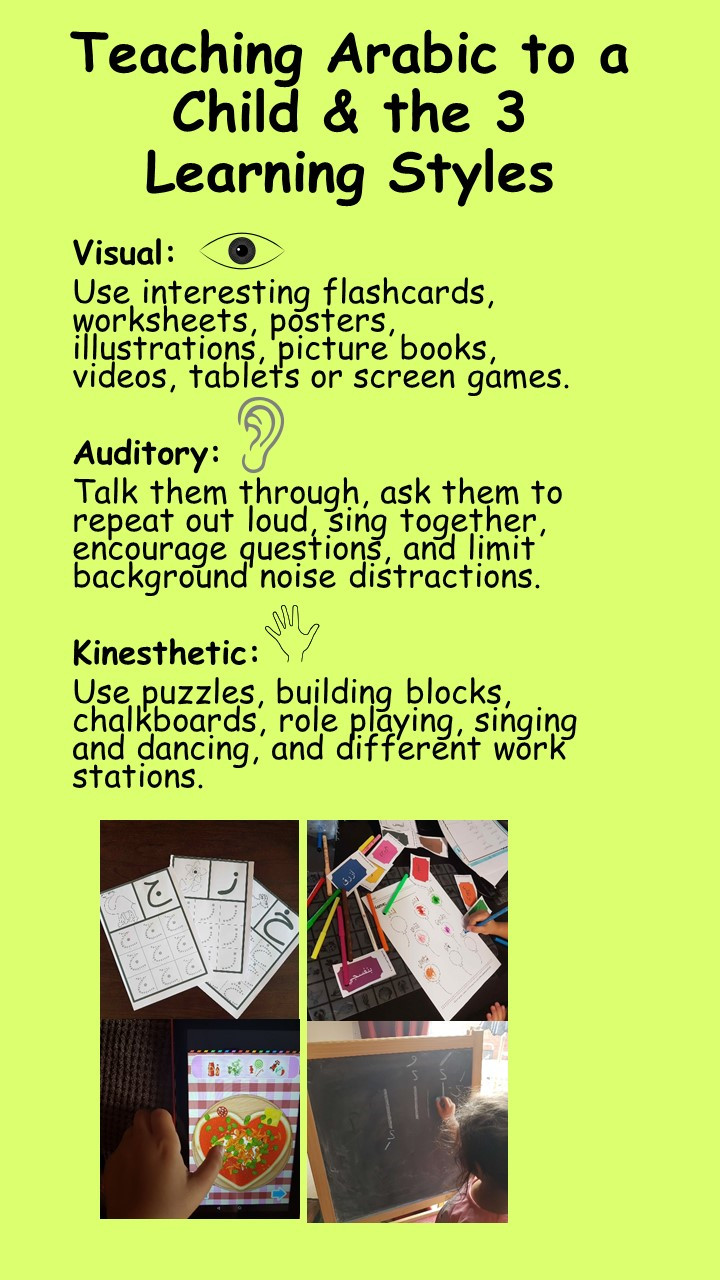 types-of-learner-child-Arabic-language-teaching-learning-visual-audio-kinesthetic-resources-ways