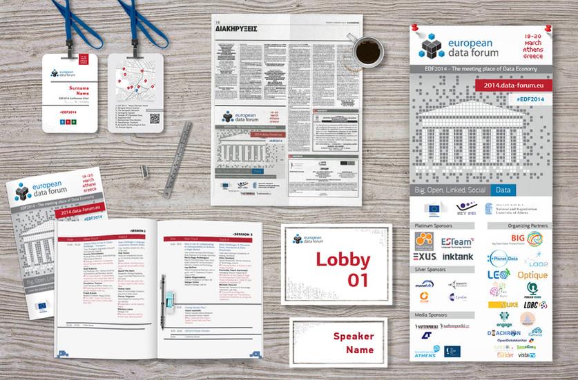 European Data Forum Badge, Newspaper Ad, Programme, Signs