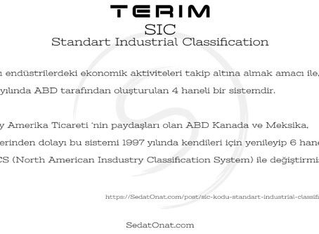 SIC Kodu (Standart Industrial Classification)
