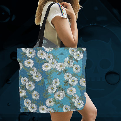 Daisies LARGE Reusable Canvas Tote / Shopping / Carry / Beach / Whatever Bags