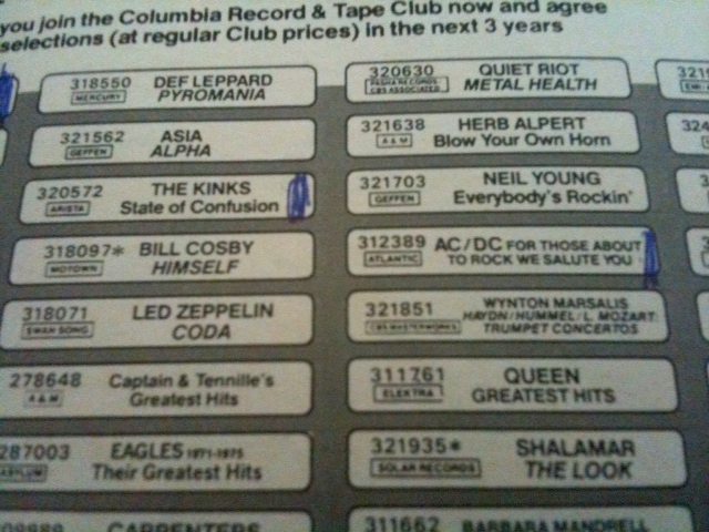 Columbia House record and tape club list detail