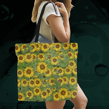 The Lowest of Low Sunflower Field All-Over Print large canvas tote bag beach school work storage shopping eco reusable sturdy