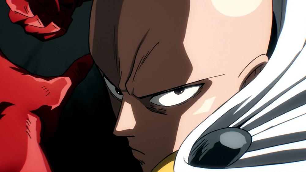 One Punch Man Saitama looks angry and serious, like the superhero he is