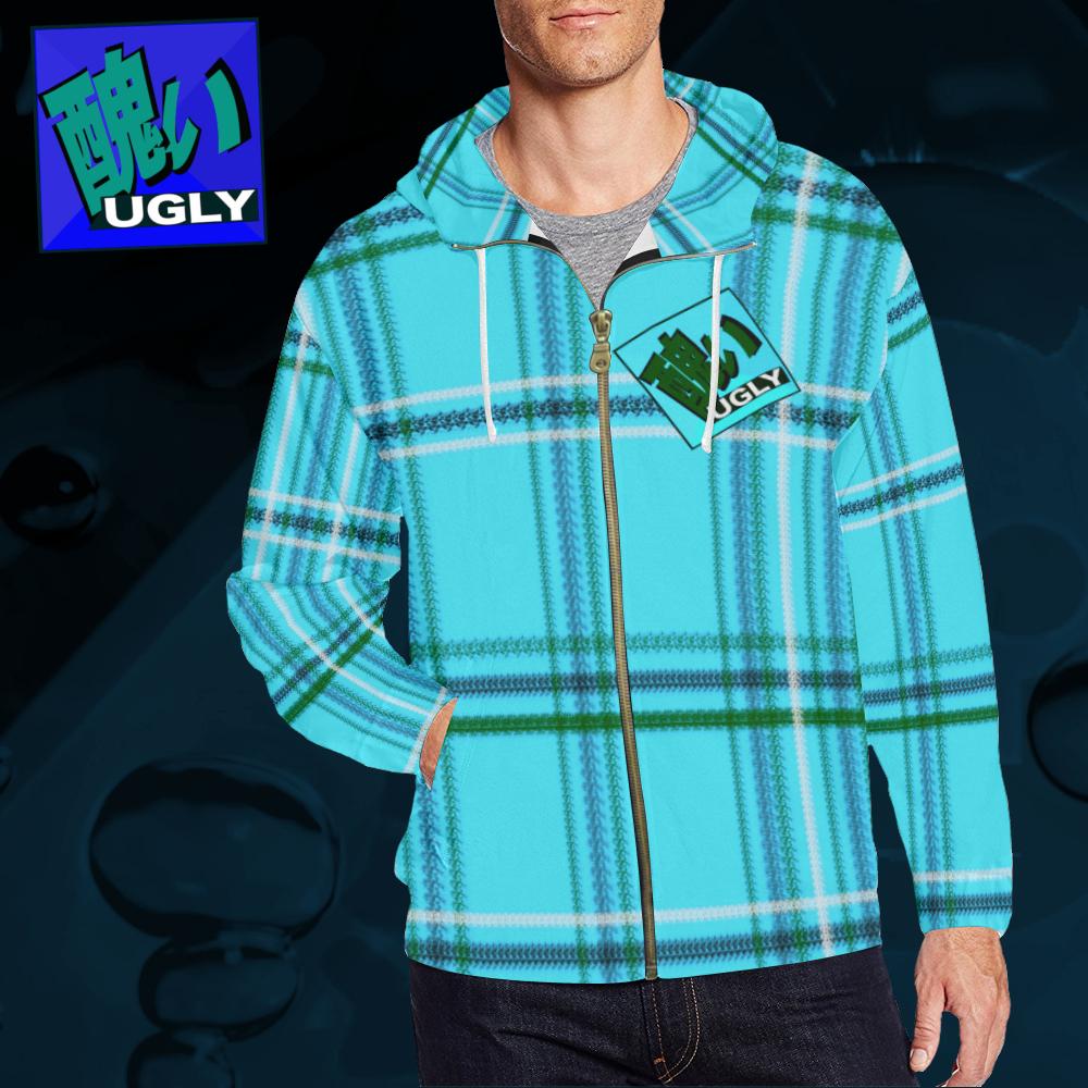 UGLY tartan zipper sweatshirt jacket hoodie The Lowest of Low Acqua