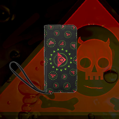 "The Lowest of Low Triangle Skull Logo ""Roses"" Pattern Clutch Purse Wallet Bag Sturdy and Awesome!"