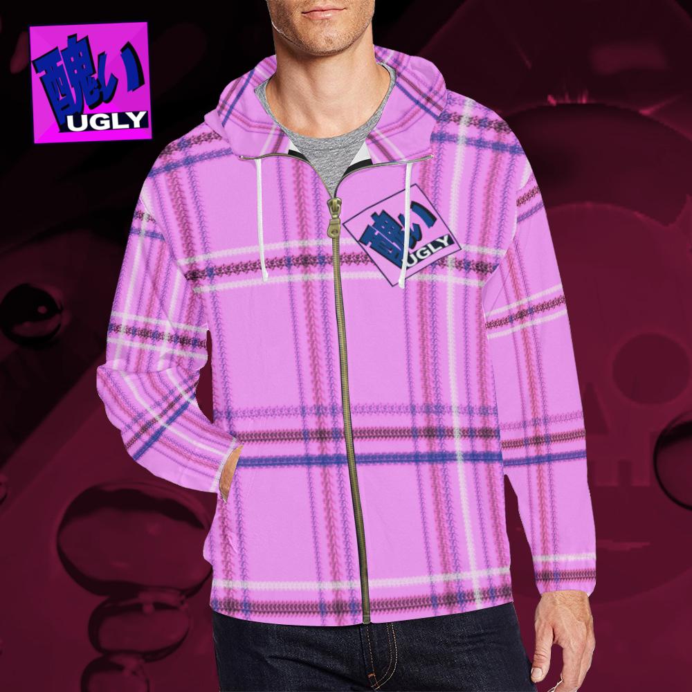 UGLY tartan zipper sweatshirt jacket hoodie The Lowest of Low Bubblegum
