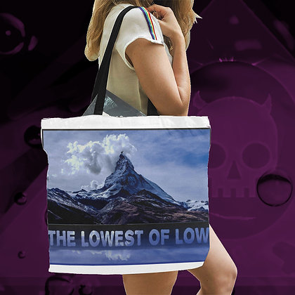 The Lowest of Low Matterhorn LARGE reusable canvas tote bag beach shopping gym bianco