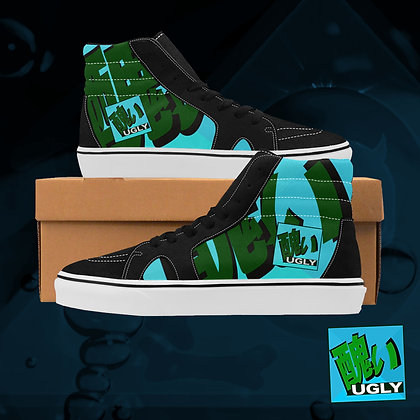 Acqua UGLY Logo Plaid High Top Skate Skateboarding Casual Shoes All Gender The Lowest of Low