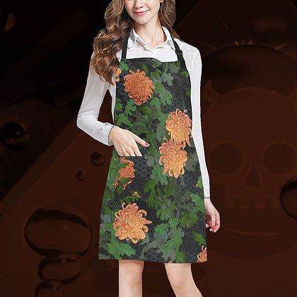 The Lowest of Low all-over print floral apron cooking kitchen garden crafting painting mucky jobs adjustable Chrysanthemum