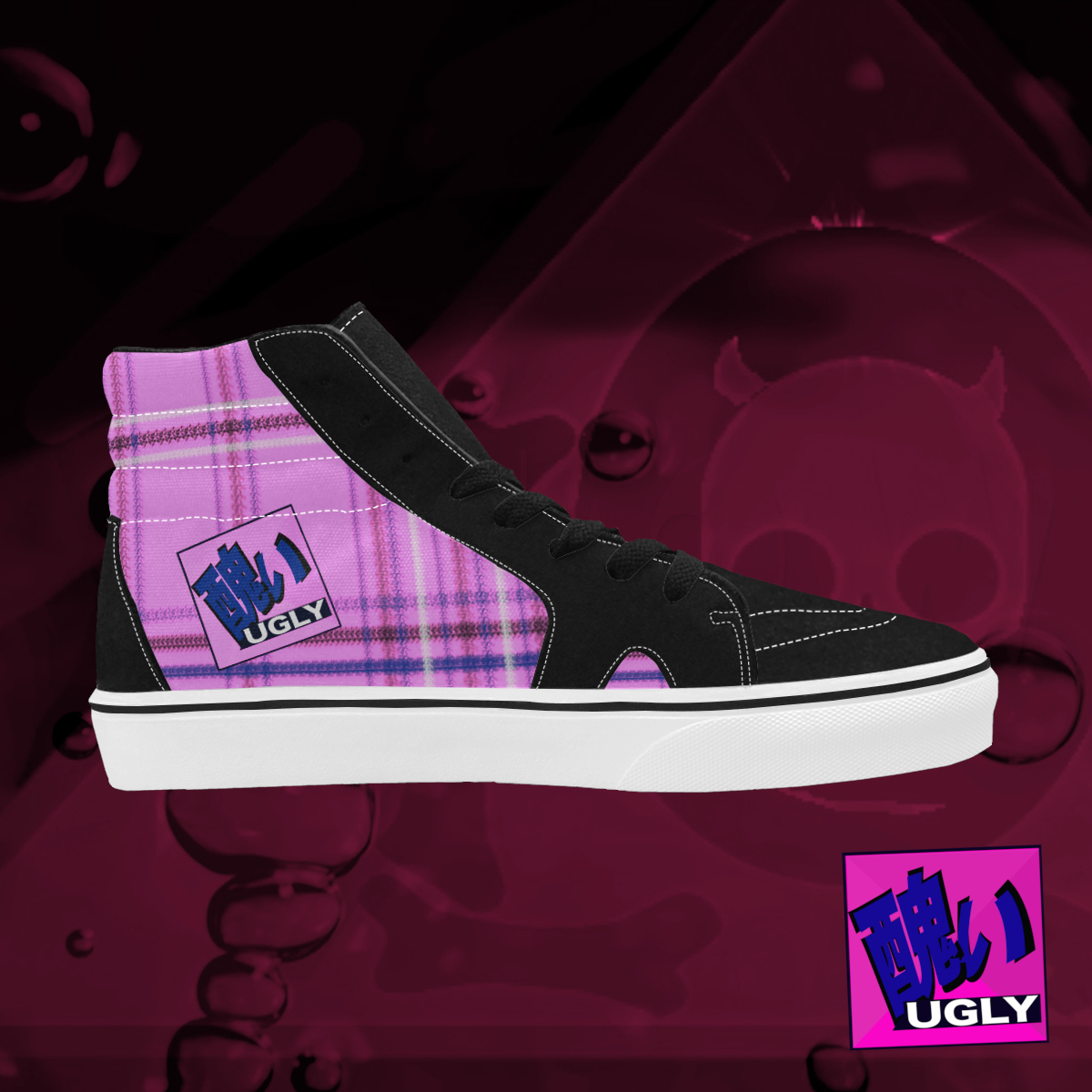 UGLY tartan high top skate shoes The Lowest of Low Bubblegum