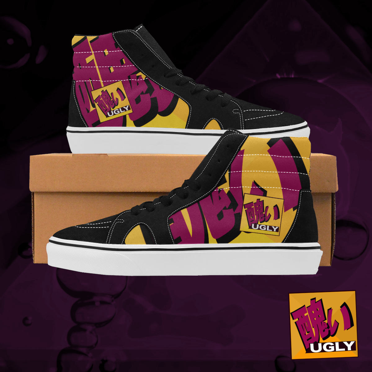 UGLY logo high top skate shoes The Lowest of Low Tang
