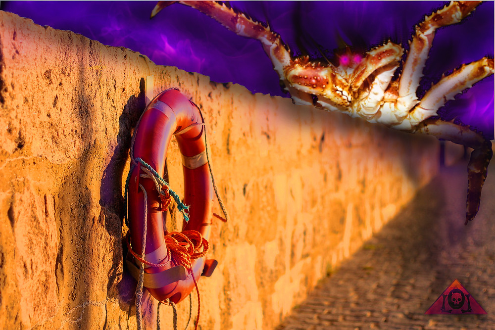 A void crab breaches the sea wall in a beautiful and charming Mediterranean setting.