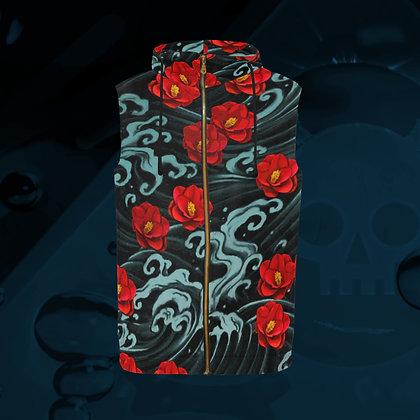The Lowest of Low designer Kurosawa Camellias All-Over Print Zipped Sleeveless Hoodie Jacket Gilet sporty elegant outerwear