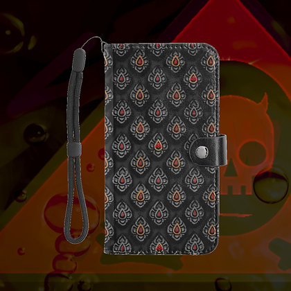 The Lowest of Low Yoni Large Size Snap Purse Phone Wallet with detachable strap, card slots, snap closure Stone/Black