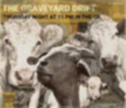 Graveyard Drift Voodoo radio show goat Cow Band Album Sleeve fake vinyl LP cover art farm animals in stereo promo art image The Lowest of Low podcast